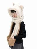 護耳帽 美蓮婷帽子手套圍巾三件一體女防風護耳保暖兒童套裝冬季連體圍脖