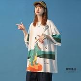 夏季短袖T恤女設計感小眾寬鬆韓版卡通中袖【聚物優品】