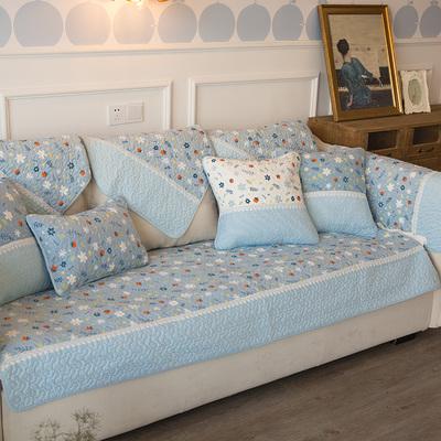 藍色沁香浮動小碎花系列沙發巾 (客製訂單一張90*210cm尺寸+兩張70*70cm)