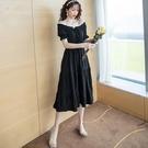 洋裝 一字領 裙子 S-XL新款赫本風小黑裙女裝春秋短袖法式複古連身裙G619-8158.皇潮天下