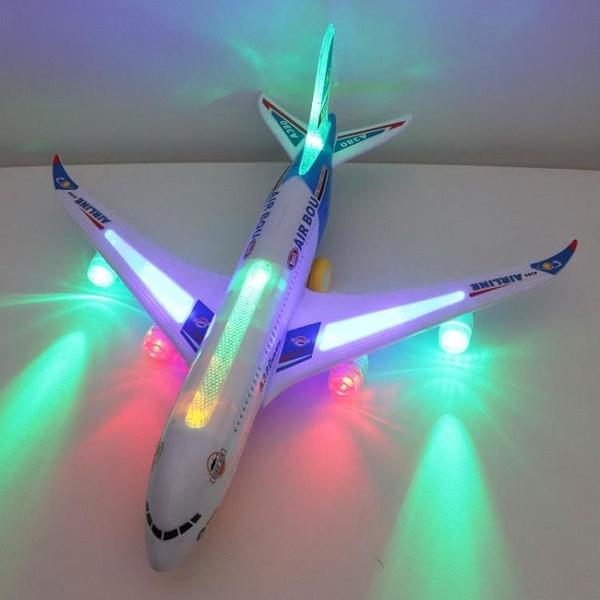 飛機模型 大號萬向飛機空中巴士兒童電動玩具飛機模型聲光拼裝組裝閃光【快速出貨八折搶購】