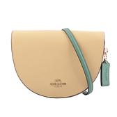 【COACH】ELLEN 拼色荔枝皮革馬鞍造型斜背包(奶油黃/淺粉色/綠色) C2857 IMS7D