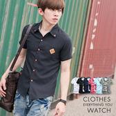 柒零年代【N8631J】夏日雅痞輕熟感造型皮革口袋素面短袖襯衫(MA50027)Light