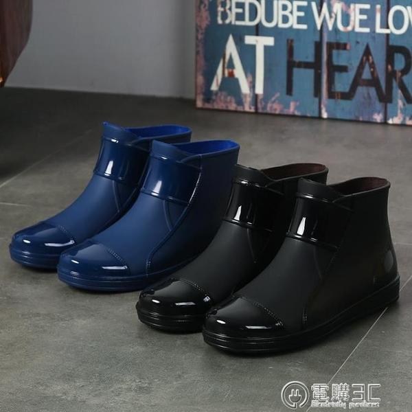 低幫雨鞋男款潮流水鞋男雨靴短筒廚房防水工作鞋防滑膠鞋平底塑膠  聖誕節免運