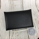 BRAND楓月 HERMES 愛馬仕 C刻 黑色 皮革 CALVI 扣式 卡包 卡夾 零錢包