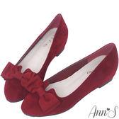 Ann'S優雅輕甜-織帶蝴蝶結V口內增高娃娃鞋-酒紅