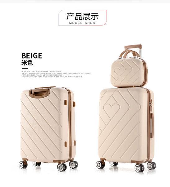 2017新款拉杆箱萬向輪防刮耐磨20寸子母行李箱(米色)