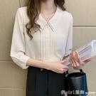 七分袖上衣 2021夏季新款雪紡襯衫女七分袖韓版氣質上衣職業正裝薄款中袖襯衣 618購物節