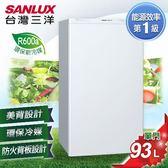 【SANLUX台灣三洋】93L單門小冰箱。珍珠白/SR-B93A5