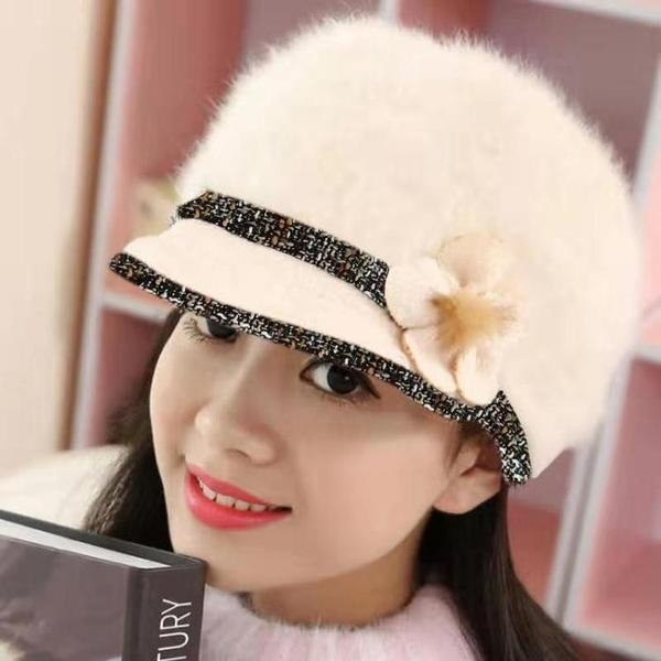 秋冬韓版真兔毛帽子女秋冬百搭內里加絨加厚中年保暖帽針織媽媽帽