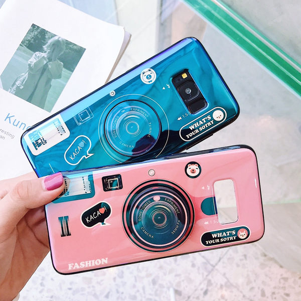 三星 Note 8 手機殼 創意 藍光 相機 保護套 全包 防摔 氣囊 支架 軟殼