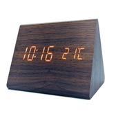 木紋LED數位電子鬧鐘 三角形 棕