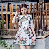旗袍-短袖中國風文藝清新改良式女連身裙73oi41【時尚巴黎】