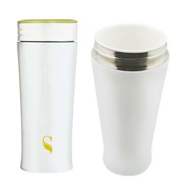 【等一個人咖啡】ikuk艾可陶瓷保溫杯簡約300ml-蘋果綠