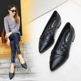 新款尖頭單鞋百搭粗跟上班鞋平底小皮鞋