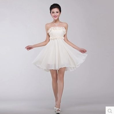 時尚新娘禮服晚裝短款伴娘禮服結婚敬酒服綁帶-rain0018