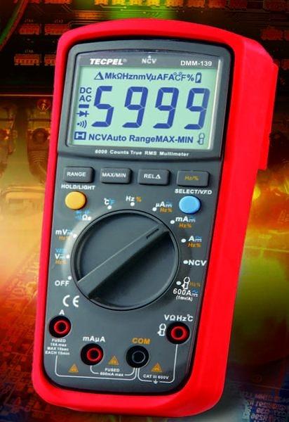 TECPEL 泰菱 》DMM139 5999 數位 + AC真實均方根讀值(True R.M.S.) 真有效值三用電錶