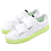【五折特賣】adidas 休閒鞋 SLEEK S W 白 黃 螢光黃 魔鬼氈 膠底設計 金標 女鞋 運動鞋【ACS】 EE8279