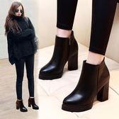 馬丁靴女新款秋冬季高跟鞋百搭粗跟防水臺短靴加絨大碼女鞋潮【卡米優品】