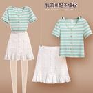 淡綠條紋V領花釦小白A字裙(裙子)
