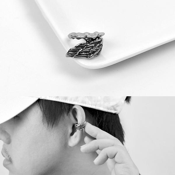 夾式耳環 立體翅膀鋼製耳骨夾NDF16