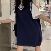 球衣 開學季女裝學生春裝t恤馬甲背心兩件套韓版寬鬆球衣服女 麗人印象 免運