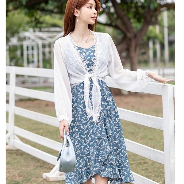 前短後長魚尾洋裝兩件套沙灘服飾(白薄紗罩衫+藍細肩帶裙)[99185-QF]美之札