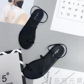 細帶平跟平底夾趾女涼鞋波西米亞夾腳涼鞋  至簡元素