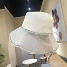 韓國chic水鑚綢緞漁夫帽子女網紗大沿春夏天遮陽防曬出游日系盆帽 一米陽光
