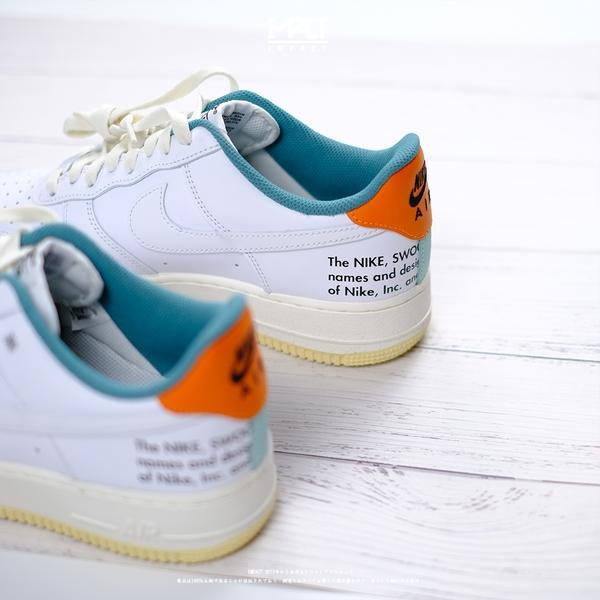 IMPACT Nike Air Force 1 小Off White 白 藍橘 標語 小勾 DM0970-111