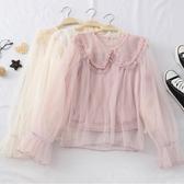網紗內搭 秋裝新款女法式浪漫仙女風娃娃領釘珠系帶喇叭袖網紗襯衫上衣