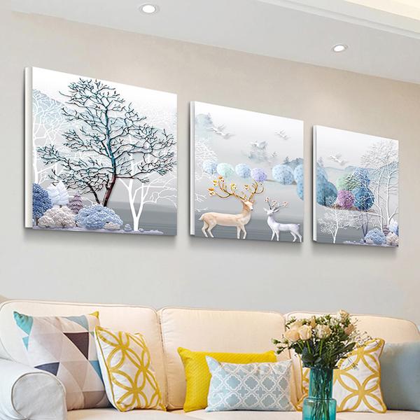 北歐客廳裝飾畫現代簡約無框畫臥室壁畫沙發背景牆掛畫歐式三聯畫NMS 喵小姐