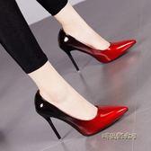 漸變色尖頭高跟鞋細跟性感32大碼42女鞋7cm拼色淺口單鞋10CM「時尚彩虹屋」