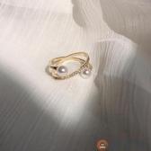 小眾設計裝飾食指戒指女時尚創意個性冷淡風韓版珍珠指環【淘夢屋】