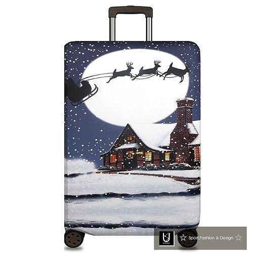 【US.STYLE】耶誕老人18吋旅行箱防塵防摔保護套