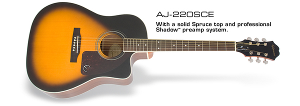 Epiphone AJ-220SCE 可插電單板民謠吉他 【AJ220SCE/單板電木吉他 】