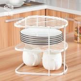 賀里GULEK小清新鐵藝墻角碟盤架 廚房置物架瀝水碗盤架儲物收納架