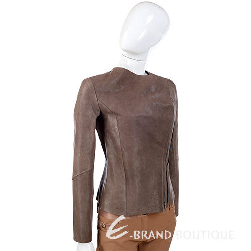 YES LONDON 摩卡色 斜拉鍊設計 皮衣 外套 1320032-06