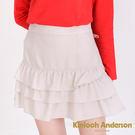 Kinloch Anderson金安德森  下擺荷葉蛋糕裙羊毛短裙 ( 2色 ) - 附格紋蝴蝶結別針