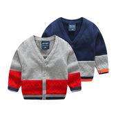 【現貨最後一件】新款嬰幼兒 男寶寶純棉線衣外套 V領撞色針織衫