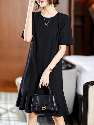 短袖洋裝連身裙大碼L-4XL重磅推薦 法式摩登CHIC 高質三醋酸 魚尾小黑裙D303依佳衣