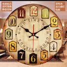 掛鐘復古懷舊掛鐘歐式客廳臥室辦公室裝飾品靜音鐘錶簡約現代時鐘掛件    都市時尚DF