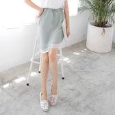OB嚴選《CA780-》長短不規則拼雪紡襬造型綁帶A字短裙.2色--適 S~L