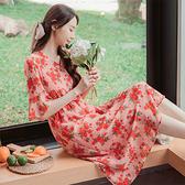 《DA7507》優雅女神印花V領荷葉袖收腰鬆緊長洋裝 OrangeBear