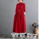 紅色洋裝2020秋裝新款文藝復古半高領棉質長袖連身裙寬鬆休閒拼接打底長裙 衣間迷你屋