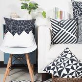 簡約黑白絨布靠墊北歐沙發抱枕現代風格幾何雙面靠枕汽車腰枕WY