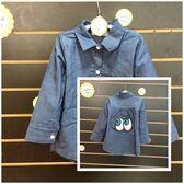 ☆棒棒糖童裝☆(68623)秋冬女童大眼睛藍色長袖襯衫 5-15