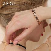 618大促ZENGLIU日韓情侶刻字手鐲 女鍍18k玫瑰金手環簡約個性潮人首飾品