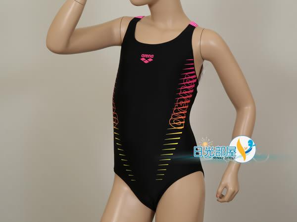 *日光部屋* arena (公司貨)/ JSS-7411WJ-BLK 大女童連身泳裝(R140/R150/R160)