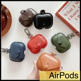 【萌萌噠】Apple AirPods pro 三代 保護套 輕奢 高檔皮紋收納包 全包無線耳機殼 耳機套 掛鉤 防丟